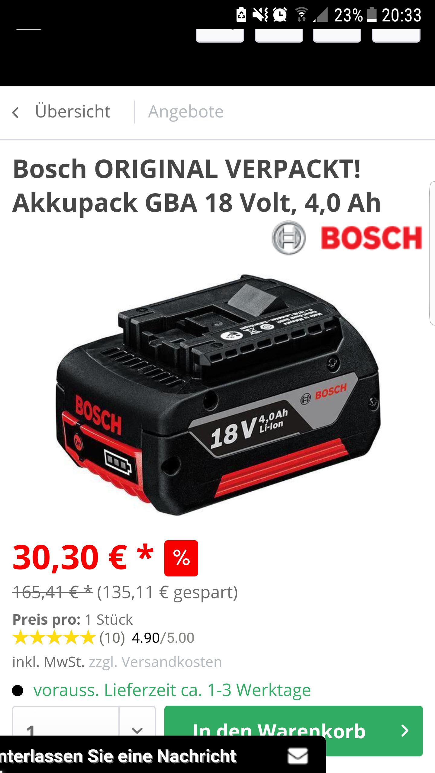 Bosch Akkupack 18v 4ah für 30,30 +Versand