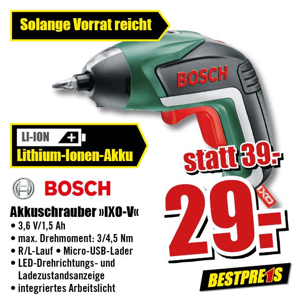 [B1 Baumarkt offline] Bosch Akku-Schrauber IXO V 3,6V 1,5Ah inkl. 10 Bits + Ladegerät (25,52€ möglich mit Tiefpreisgarantie bei Bauhaus)