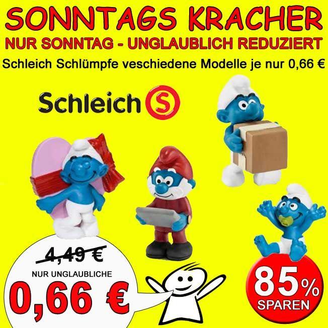Verschiedene Schleich Schlümpfe bei Spar Toys