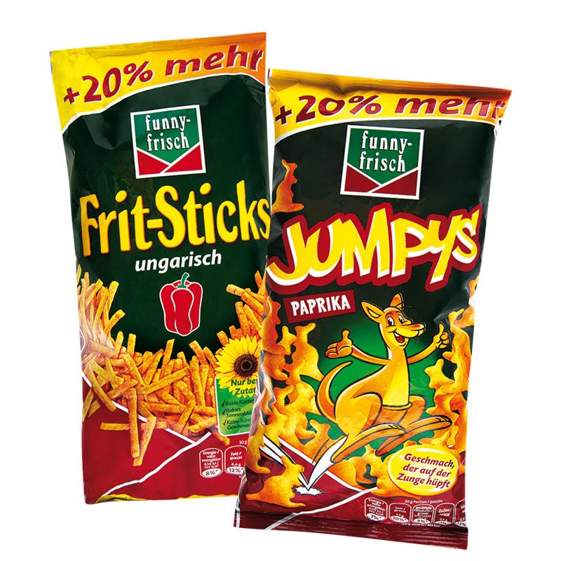 Funny-Frisch Jumpys, Frit-Sticks oder Ringli, 20% mehr Inhalt, die Packung für 88 Cent  [Norma]