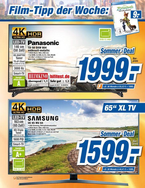 Panasonic TX-58DXW904, Direct-lit, Local Dimming (512 Zonen), Premium HDR, 100 HZ, 3D