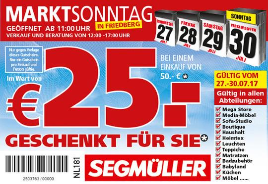 [lokal SEGMÜLLER Friedberg (Bayern)] 25€ Rabatt ab 50€ Einkaufswert - auch bei großen Marken