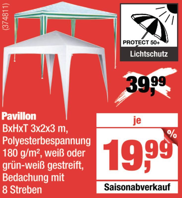 (Lokal) Der nächste (Regen)-Sommer kommt bestimmt - Garten-Pavillon für 19,99€ bei HELLWEG