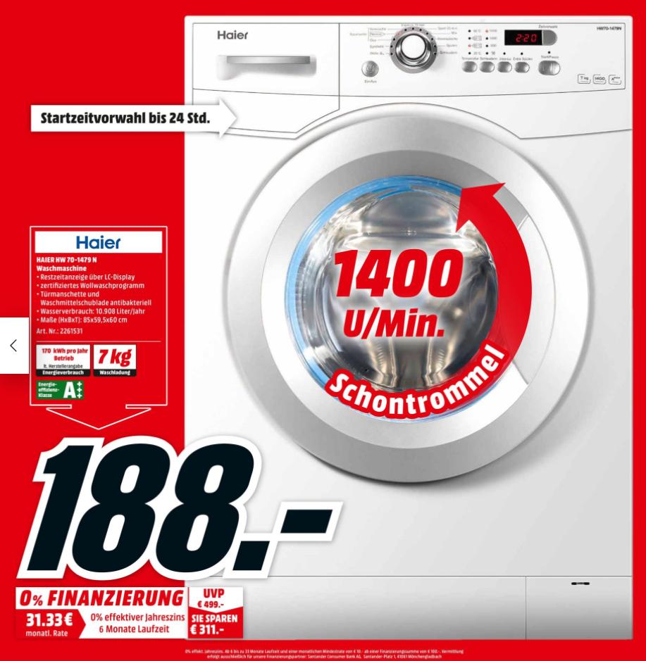(Lokal Mudderstadt) Haier HW70-1479 für 188€ @Media Markt - A+++  / 1400 UpM / 7 kg