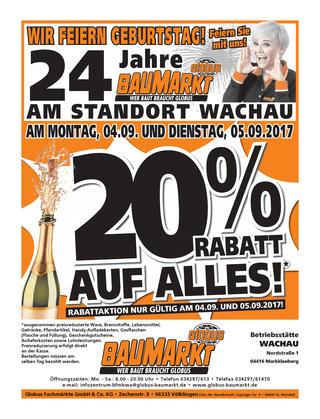 20% auf alles beim Globus Baumarkt Markkleeberg/ Leipzig bis 05.09.2017
