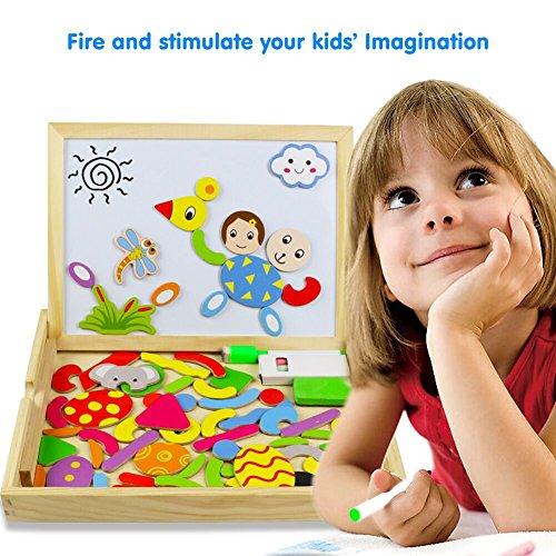 Magnetisches Holzpuzzles Puzzles Zeichnung Holzbrett Spielzeug Lernspielzeug Lernspiel Spiel für Kinder Jungs Mädchen 3 4 5 Jahren Alt 50 % inkl Prime Versand