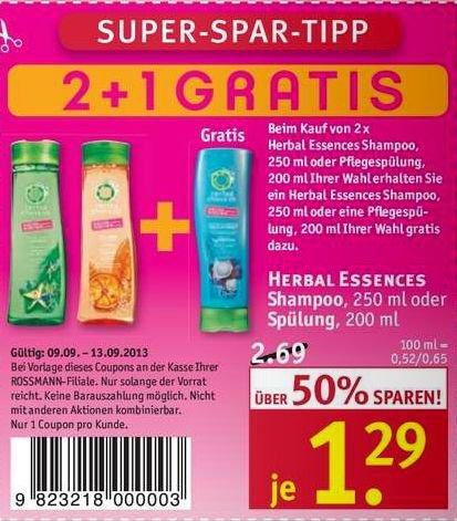 [Rossmann offline] 3 * Herbal Essences Shampoo oder Spülung