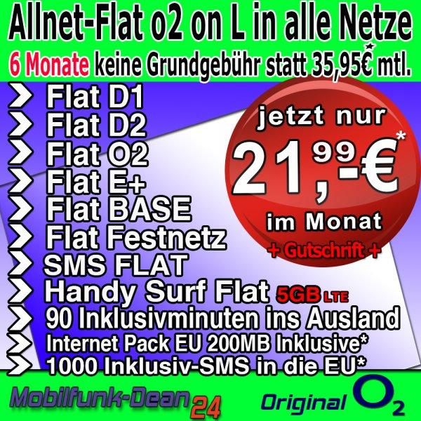 O2 Business L Allnet/SMS/InternetFlat 5GB Volumen (LTE) + EU Paket = 21,99/Monat