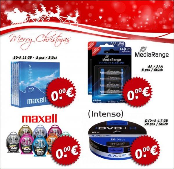 umsonst: 5 BD-R + 8 Batterien + Maxell Kopfhöhrer + 20 DVD+R + 3,50 Versand + 20,- MBW