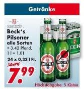Multi Märkte Leer/Emden Beck`s versch Sorten 24x033l. Kiste 7,99 zzgl. Pfand
