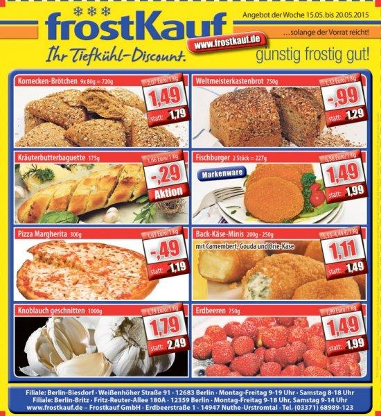 [Lokal Berlin-Britz / Berlin-Biesdorf] Kräuterbaguette 175g für 0,29€ bei Frostkauf ab 15.05-20.05