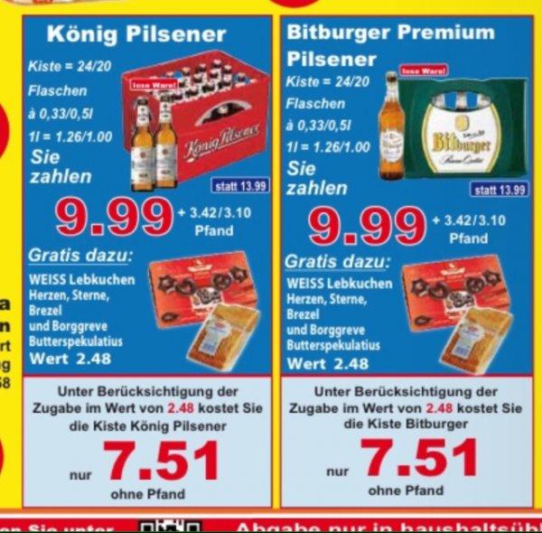 K+K: Bitburger oder König Pilsener + Gratisbeigabe Weihnachtsgebäck