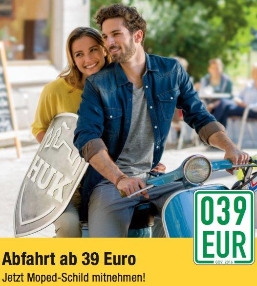 Moped-/Rollerkennzeichen für 37,50€ (für Fahrer ab 23 Jahren) - unter 23 Jahre für 56€