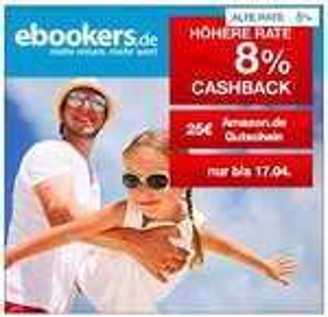 (Qipu) 8% Cashback bei ebookers auf Pauschalreisen + 25€ Amazon Gutschein ab 249€ Pauschalreisenwert