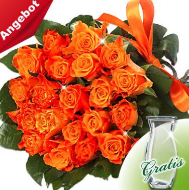 20 orange Rosen mit Vase für 21,98€ inkl. VSK bei [FloraPrima] - NL-Anmeldung bringt 3€ Rabatt: 18,98€ inkl. VSK