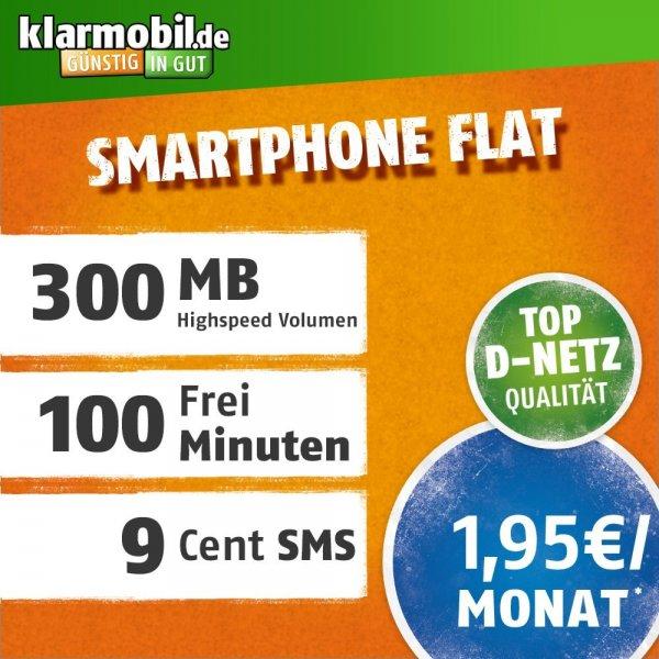 [amazon.de] Klarmobil Flat S, 300 MB, 100 Min, Mobilfunk Vertrag im D-Netz für nur 1,95 € im Monat