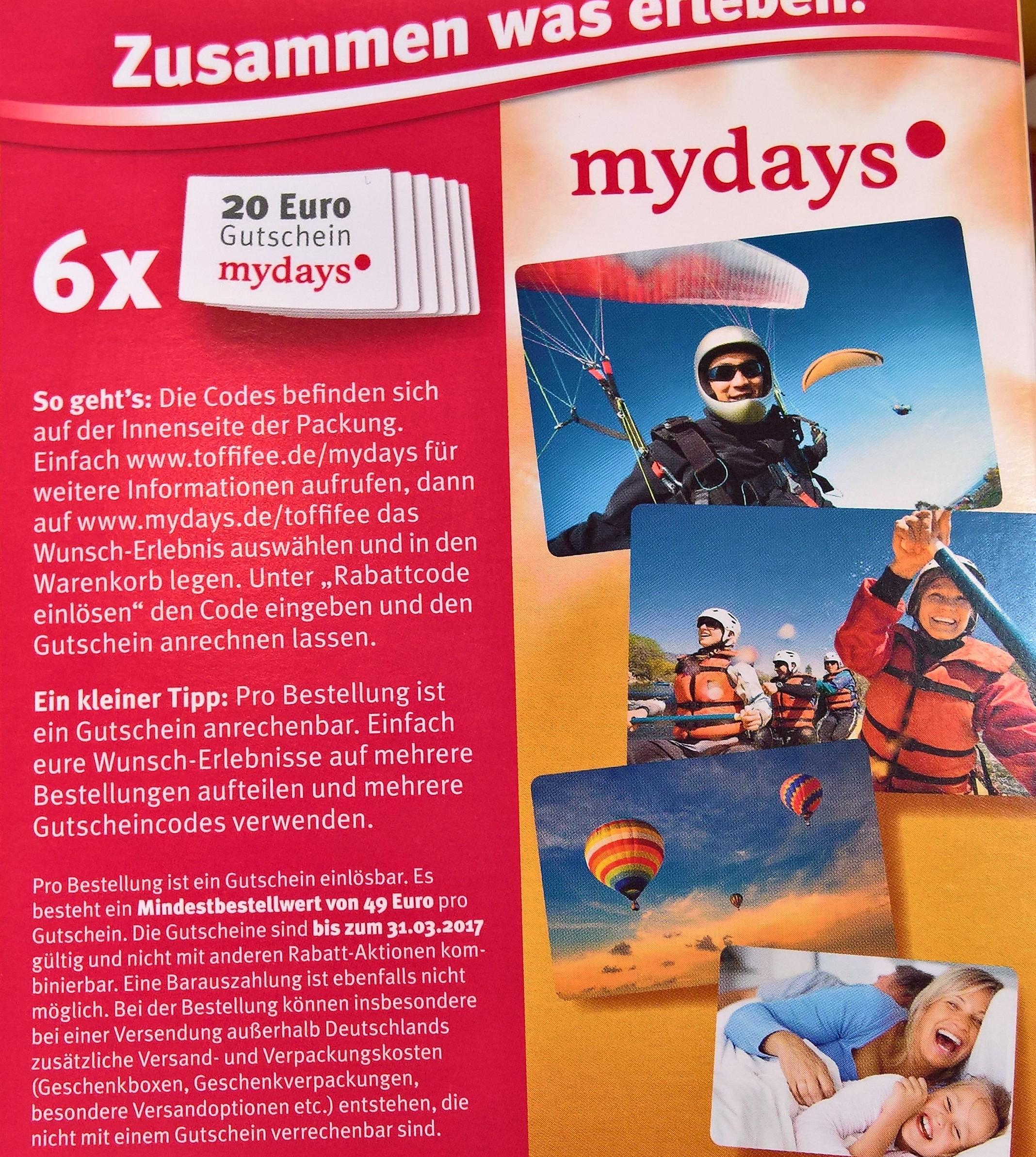 6x 20€ Mydays Gutschein ab 49€  im 6er Pack Toffifee
