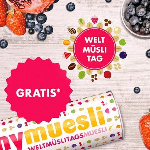 Weltmüslitag 1 x Gratis mymuesli Müsli ab 20 € Einkaufswert 17.09.2016