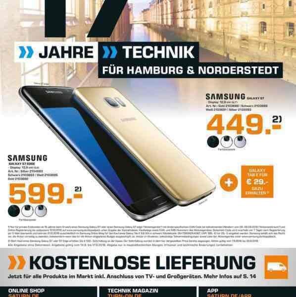 Lokal Saturn Hamburg und Umgebung Samsung Galaxy S7 449,- + Tab E für 29,-
