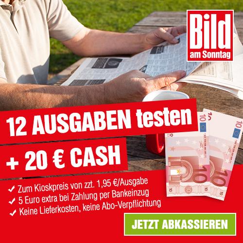 12 Ausgaben BILD am SONNTAG + 20€ Bar/Scheck Gutschrift für 18,40€