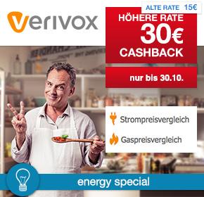 30€ Cashback bei Strom und Gasvertragswechsel bei Verivox über Shoop.de