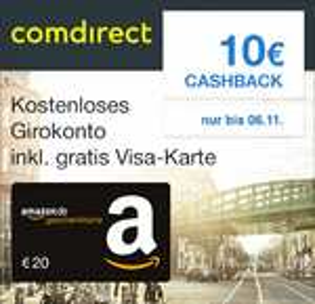 Comdirect Girokonto mit 20€ Amazon-Gutschein und 10€ Cashback via Shoop.de