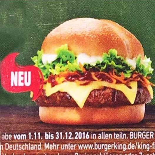 Burger King mit 4 nagelneuen Angeboten, sowie dem Cheeseburger für nur 1€ und der Long Chicken für nur 1,99€