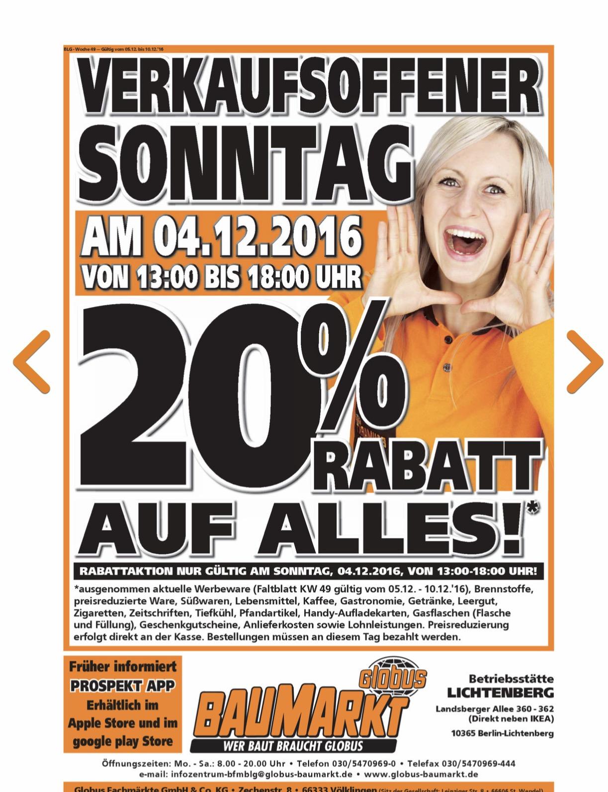 [Lokal Globus Baumarkt Berlin-Lichtenberg] Nur Heute 20% auf alles!