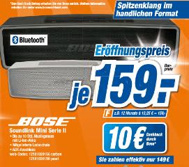 Bose Soundlink Mini II Expert Xanten 159€ mit 10€ Cashback und 20€ Gutscheinrabatt effektiv 129€
