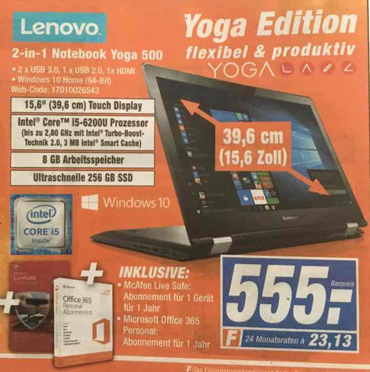Lenovo Yoga 500 inkl. Mcafee+MS Office i5 8gb RAM 256gb SSD