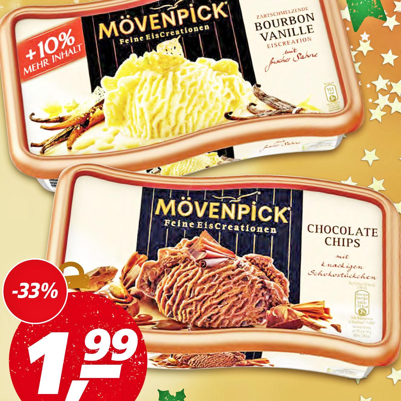 Lecker Mövenpick Eis +10% UND 1,00€ Cashback ab Montag für dann nur 0,99€ bei [Real]