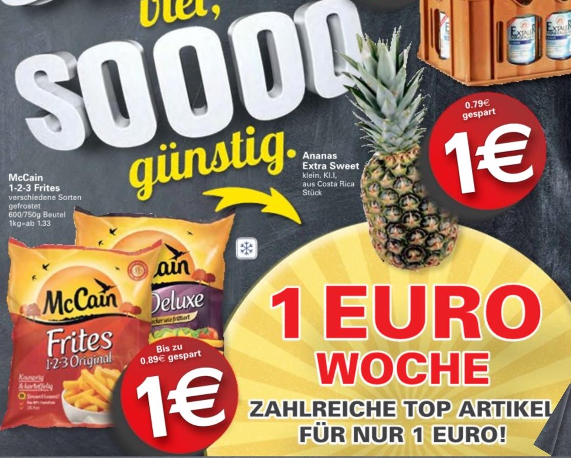 [WEZ] Artikel für 1€ (z.B. Ananas & PFANNER 2L & 2Ü-Eier & Bistro Baguette usw.)