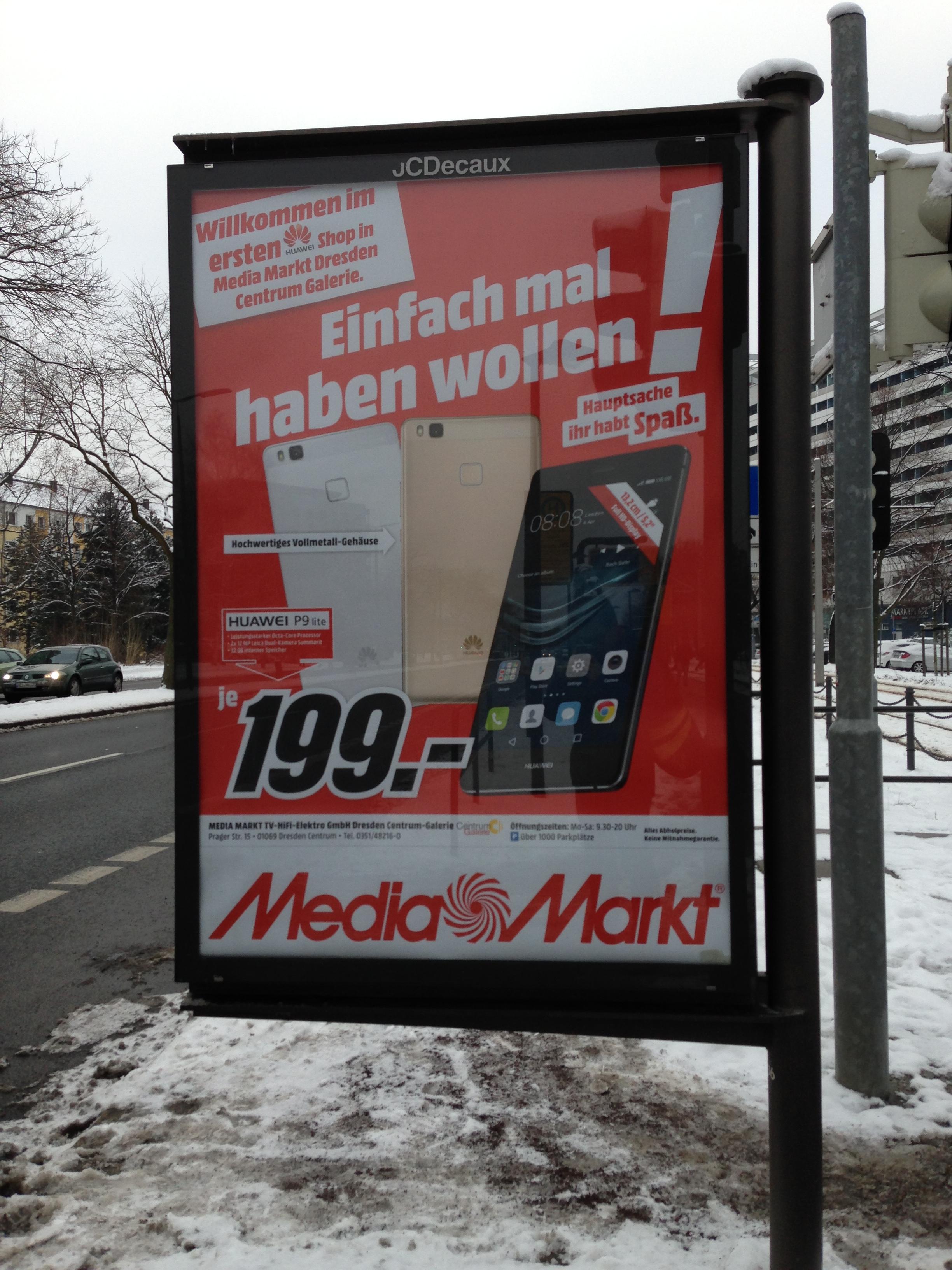 Huawei P9 Lite auf dem Dresden Centrum Galerie Mediamarkt
