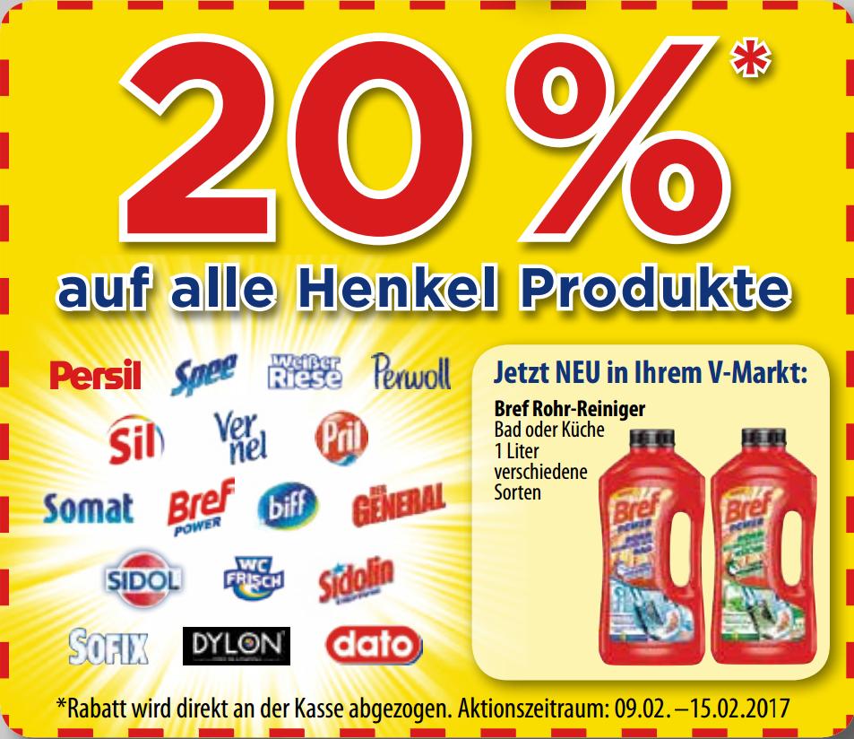 20% auf alle Henkel Produkte + 3€ ab 10€ Sofort-Rabatt-Coupon bei V-Markt bis 15.02.17