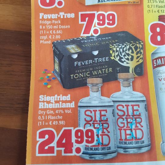 Siegfried Rheinland Dry Gin €24,99 und Fever-Tree Tonic Fridge-Pack für € 7,99 bei Trinkgut / 24,70 bei Foodist.de