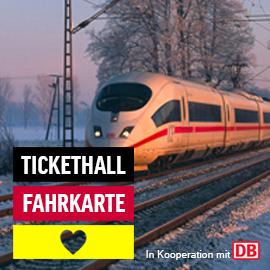 Deutschlandweite Deutsche Bahn Fahrkarte 2. Klasse für EUR 39 bei Tickethall (+10 Euro Tickethall Gutschein +Maxdome Gutschein)