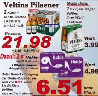 [LOKAL] K + K --> 2 Kisten Veltins Pilsener + 6er Träger Veltins + 2x Hakle Toilettenpapier