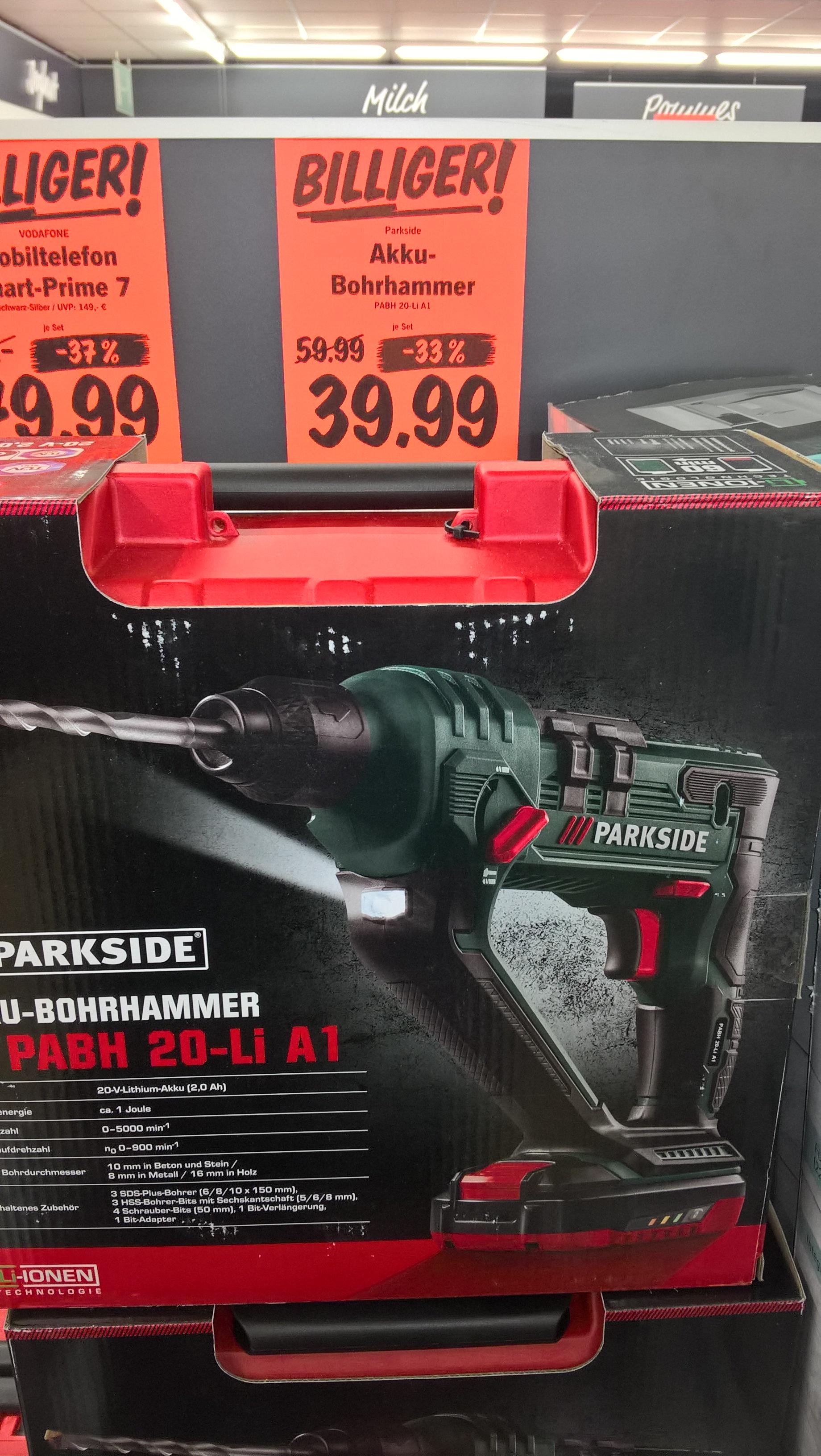 [lokal] LIDL in 68519 Viernheim : PARKSIDE® Akku-Bohrhammer PABH 20-Li A1