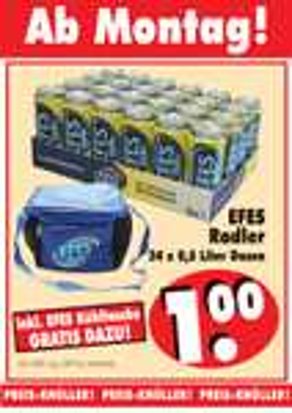 [RB Becker] Efes Alster/Radler (Bier mit Limonade) 24*0.5 für 1€ + Kühltasche
