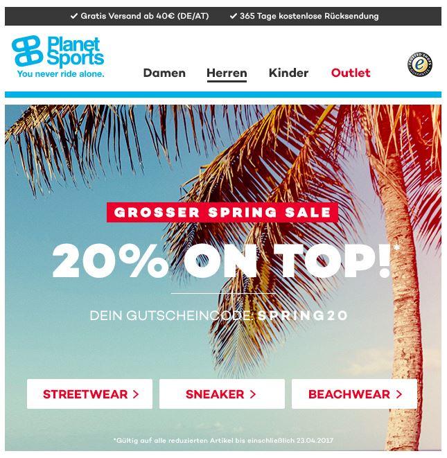 Jetzt verlängert: 20% extra Rabatt auf reduzierte Artikel bei Planet Sports *UPDATE*