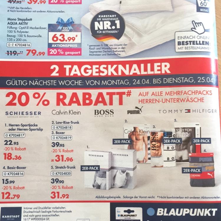 [Karstadt] 20% Rabatt auf Tommy Hilfiger/Hugo Boss/Calvin Klein/Schiesser/Puma Boxershorts