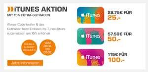 15% extra iTunes-Guthaben (on- und offline) bei [Saturn]