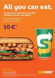 """Subway JEDEN SONNTAG  von 16.00 bis 20.00 Uhr """"ALL YOU CAN EAT """" [LOKAL]"""