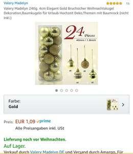 Abgelaufen!!!!  (Amazon PRIME) Weihnachtskugel von Valery Madelyn 24tlg. 4cm Elegant Gold, BruchsicherWeihnachtskugel, Dekoration, Baumkugeln