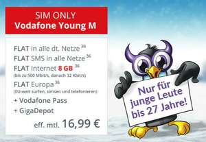 Vodafone Young M SIM-only für eff. 16,99 € mtl. + 39,99 € Anschlussgebühr (Allnet-Flat, SMS-Flat, jetzt mit 8 GB LTE)