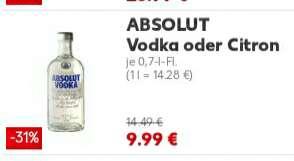Kaufland: Absolut Vodka 40% und Absolut Vodka Citron ab 01.03.