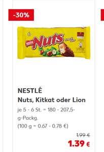 Kaufland Nestle Lion, Kitkat oder Nuts 5-6 stk/Pk. (100 g = 0.67 - 0.78 €)