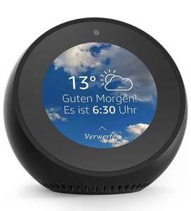 Amazon.de -  Amazon Echo Spot, Zertifiziert und generalüberholt, Schwarz und Weiß
