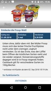 [Reebate +Rewe) 2 gratis Müller Froop Joghurts mit 2 Cent Gewinn