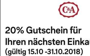 20% Rabatt C&A 15.10.-31.10. Lokal, kein Ausdruck nötig